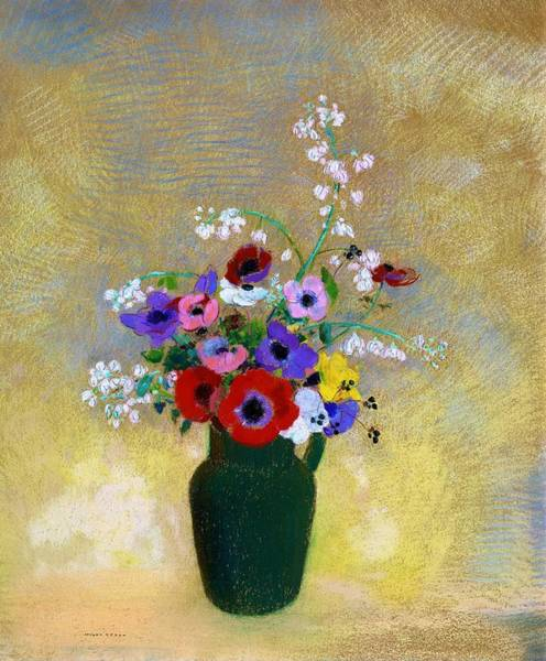 Wall Art - Painting - Large Green Vase With Mixed Flowers - Digital Remastered Edition by Odilon Redon