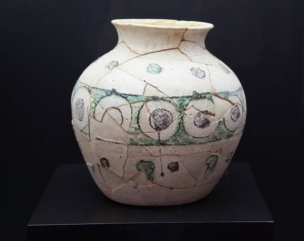 Wall Art - Photograph - Glazed Earthenware Jar, Circa 10th Century, Decorated With Geometric Motifs  by Ken Welsh