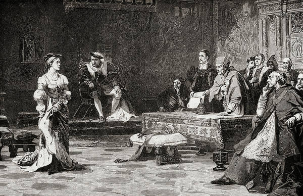 Wall Art - Drawing - The First Trial Of Catherine Of Aragon, 1485-1536, First Wife Of Henry Viii by Ken Welsh