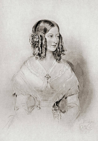 Wall Art - Drawing - Princess Victoire Of Saxe-coburg And Gotha, Duchess Of Nemours, 1822-1857. by Ken Welsh