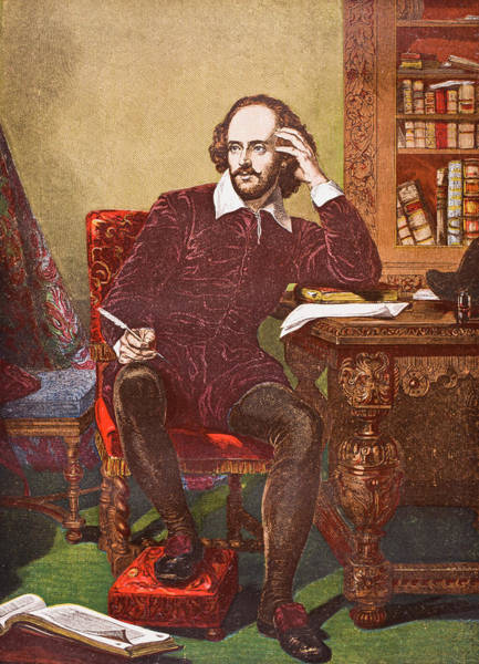 Wall Art - Drawing - William Shakespeare, 1564-1616.   English Poet And Dramatist by Ken Welsh