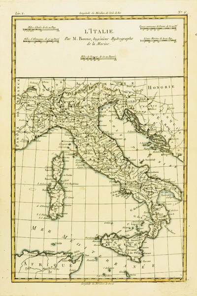 Wall Art - Drawing - Map Of Italy, Circa.1760 by Ken Welsh