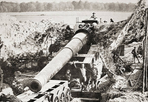 Wall Art - Drawing - An American 14 Inch Canon In Position On The Western Front.  by Ken Welsh