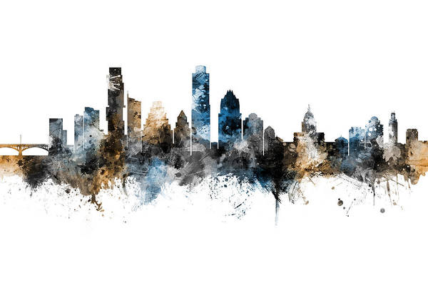 Wall Art - Digital Art - Austin Texas Skyline by Michael Tompsett