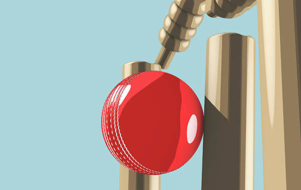 Wall Art - Digital Art - Cricket Ball Hitting Wickets by Allan Swart
