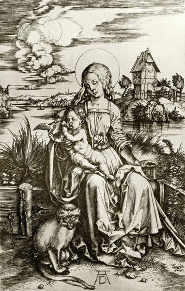 Wall Art - Drawing - The Virgin And Child With The Monkey. by Ken Welsh