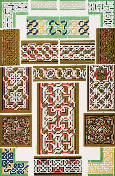 Wall Art - Drawing -  The Grammar Of Ornament. Moresque From The Alhambra No 1    by Ken Welsh