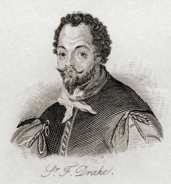 Wall Art - Drawing - Sir Francis Drake,  C.1540/3-1596.  Vice Admiral. by Ken Welsh