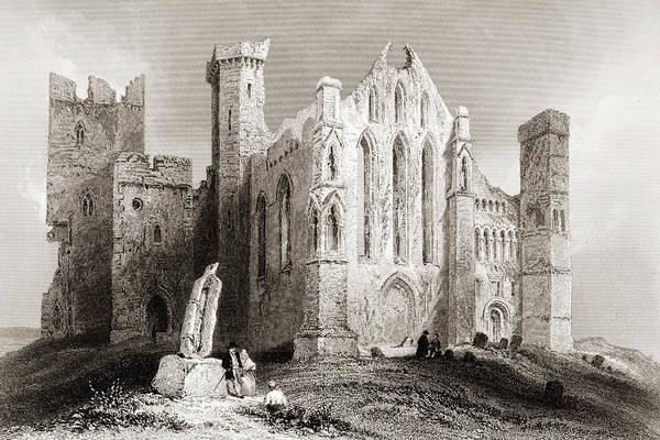Wall Art - Drawing - Ruins At Cashel, From The South, Connemara, County Galway, Ireland by Ken Welsh