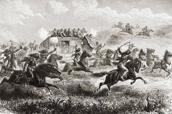 Wall Art - Drawing - Indians Attacking Coach Carrying Us Mail Across Prairies In 1860's by Ken Welsh
