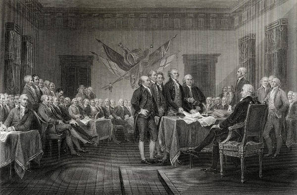Wall Art - Drawing - The Declaration Of Independence July 1776 by Ken Welsh