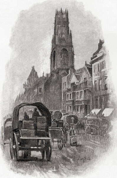 Wall Art - Drawing - Fleet Street, London, England, 19th Century by Ken Welsh