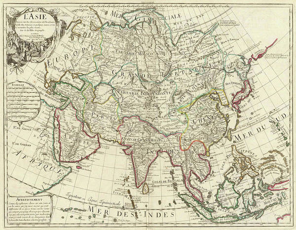 Drawing - 1700 Map Of Asia  by Guillaume de Lisle