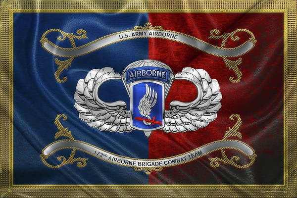 Digital Art - 173rd Airborne Brigade Combat Team - 173rd  A B C T  Insignia With Parachutist Badge Over Flag by Serge Averbukh