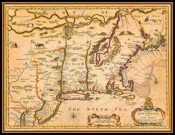 Adirondack Mountains Painting - 17th Century Colonial Map Of New England And New York With Native American Settlements by Peter Ogden Gallery