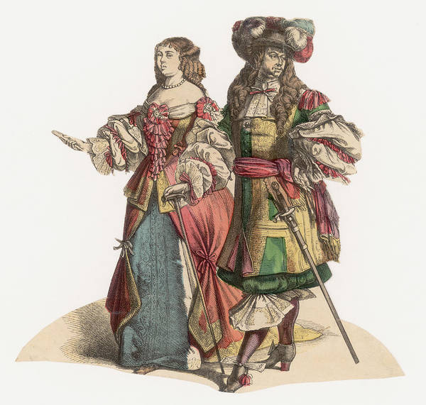 Walking Photograph - 17th Century Fashion by Hulton Archive