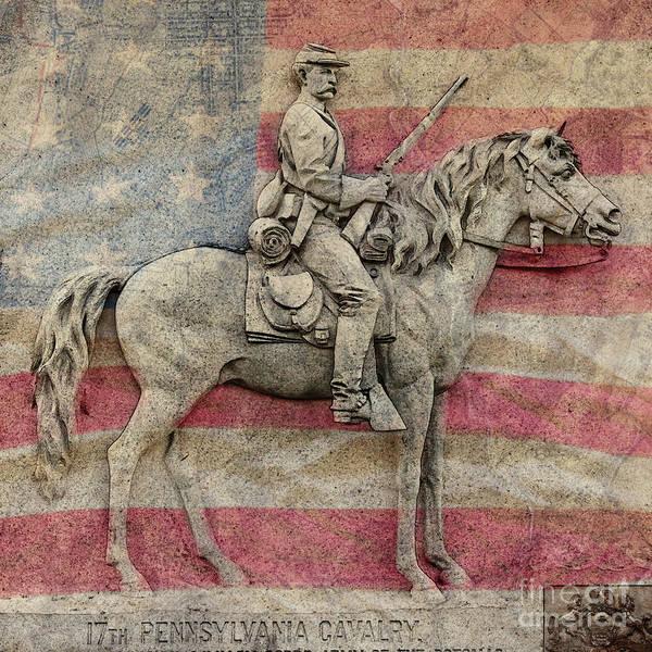 Wall Art - Digital Art - 17th Pennsylvania Cavalry On Flag by Randy Steele