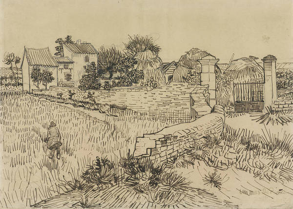 Drawing - Farmhouse In Provence by Vincent van Gogh