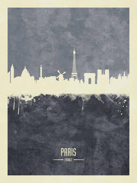 Wall Art - Digital Art - Paris France Skyline by Michael Tompsett
