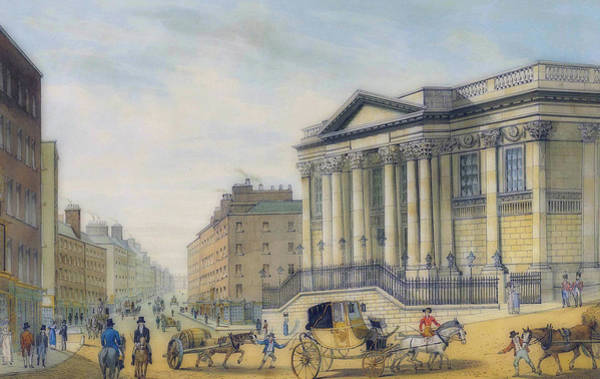 Royal Street Painting - 1818 The Royal Exchange, Dame Street, With A Distant View Of Col by Samuel Frederick Brocas