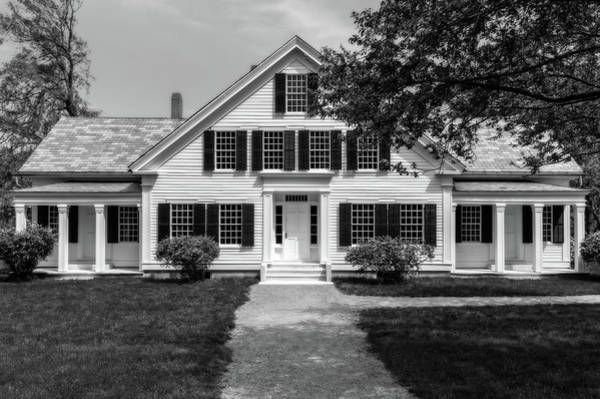 Greek Revival Architecture Photograph - 1832 Greek Revival Style New England House  -  1832negreekrevivalstylehomeblkwhi185678 by Frank J Benz