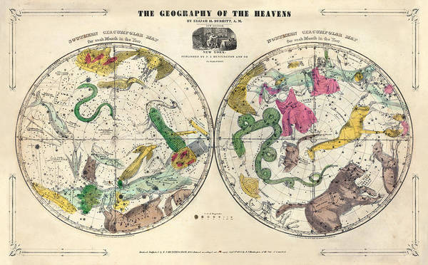 History Digital Art - 1835, Circumpolar Map Composite, Atlas by Historic Map Works Llc