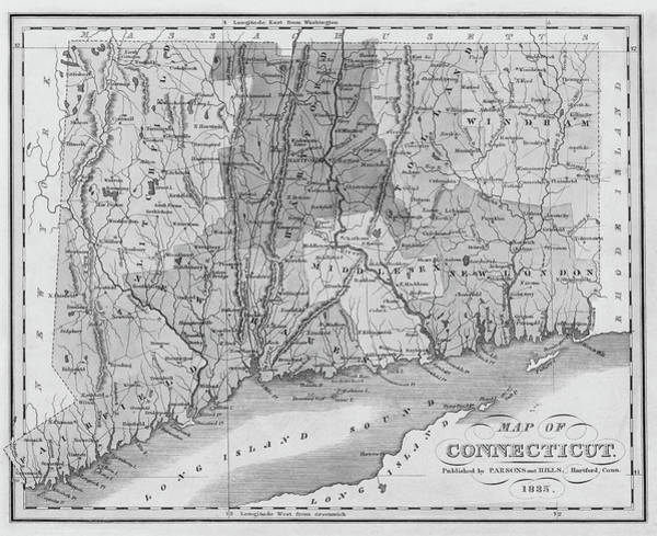 Fairfield Ct Photograph - 1835 Map Of Connecticut And Long Island Sound Historical Map Black And White by Toby McGuire