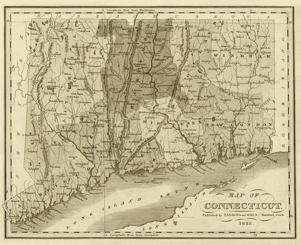 Digital Art - 1835 Map Of Connecticut And Long Island Sound Historical Map Sepia by Toby McGuire