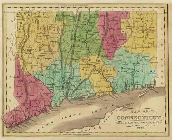 Digital Art - 1835 Map Of Connecticut And Long Island Sound Historical Map by Toby McGuire