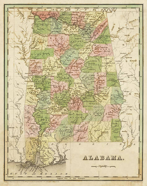 Digital Art - 1838 Map Of Alabama Historical Map by Toby McGuire