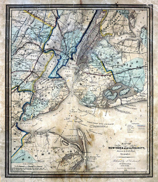 Photograph - 1839 King And Queens N Y Map by Paul W Faust - Impressions of Light