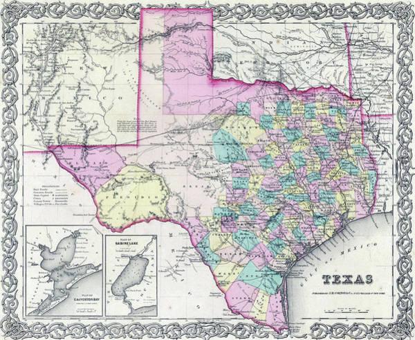 Photograph - 1855 Antique Map Of Texas by Steve Estvanik