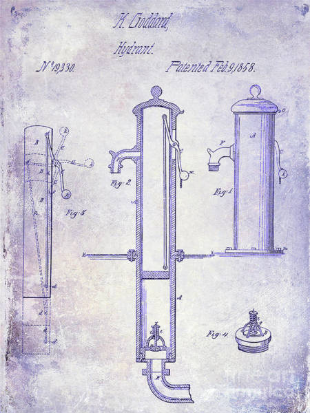 Vintage Fire Truck Photograph - 1858 Fire Hydrant Blueprint by Jon Neidert
