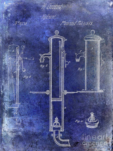 Wall Art - Photograph - 1858 Fire Hydrant Patent Blue by Jon Neidert