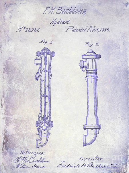 Wall Art - Photograph - 1859 Fire Hydrant Patent Blueprint by Jon Neidert