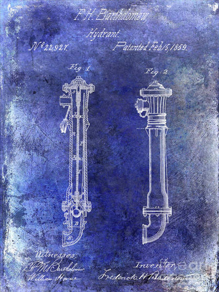 Wall Art - Photograph - 1859 Hire Hydrant Patent Blue by Jon Neidert