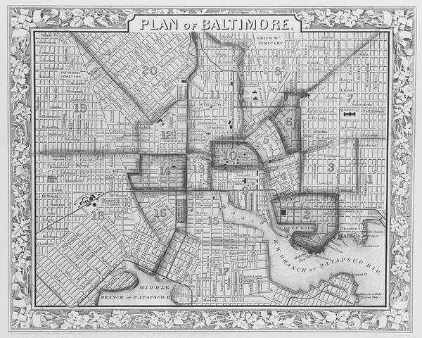 Digital Art - 1860 City Planner Map Of Baltimore Maryland Black And White by Toby McGuire