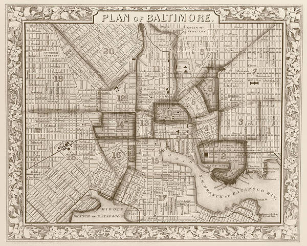 Digital Art - 1860 City Planner Map Of Baltimore Maryland Sepia by Toby McGuire