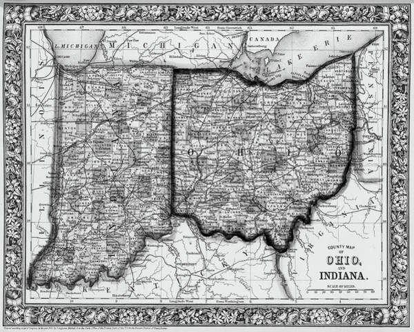 Digital Art - 1860 County Map Of Ohio And Indiana Black And White by Toby McGuire
