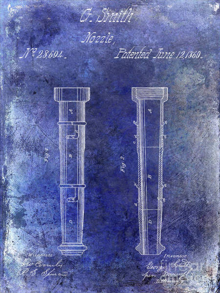 Wall Art - Photograph - 1860 Fire Hose Nozzle Patent Blue by Jon Neidert