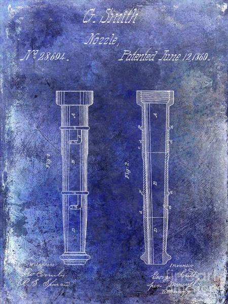 Vintage Fire Truck Photograph - 1860 Fire Hose Nozzle Patent Blue by Jon Neidert