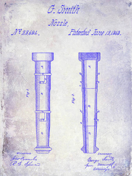Wall Art - Photograph - 1860 Fire Hose Nozzle Patent Blueprint by Jon Neidert