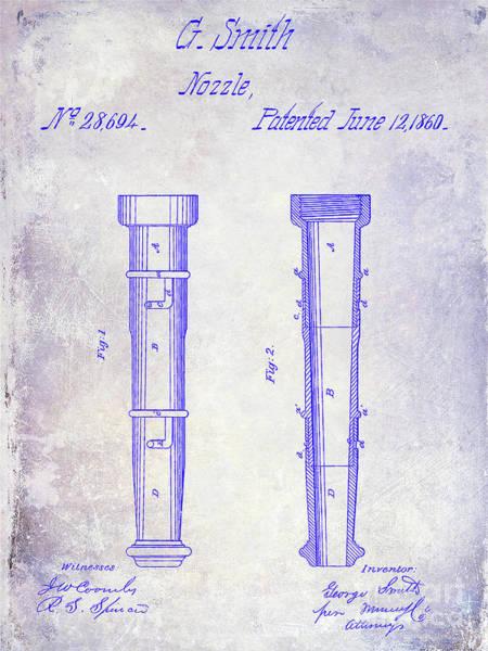 Vintage Fire Truck Photograph - 1860 Fire Hose Nozzle Patent Blueprint by Jon Neidert