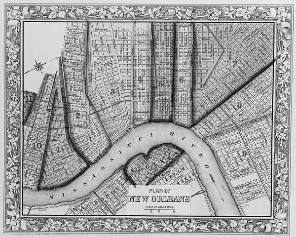 Digital Art - 1860 New Orleans City Plan Map Black And White by Toby McGuire