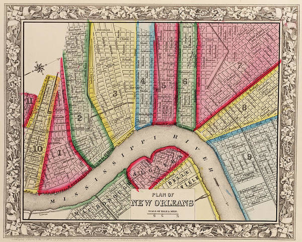 Digital Art - 1860 New Orleans City Plan Map by Toby McGuire