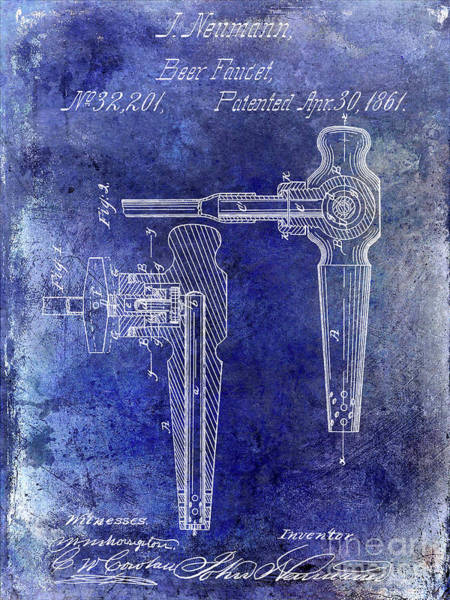 Wall Art - Photograph - 1861 Beer Faucet Patent Blue by Jon Neidert