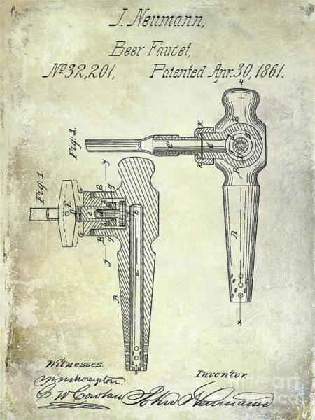 Wall Art - Photograph - 1861 Beer Faucet Patent by Jon Neidert