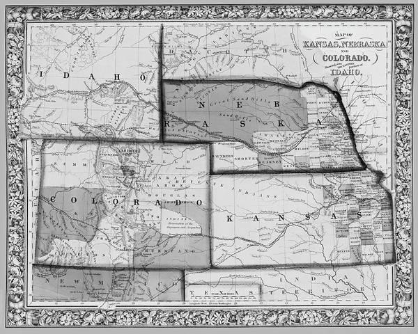 Digital Art - 1861 Map Of Idaho Nebraska Colorado And Kansas Black And White by Toby McGuire