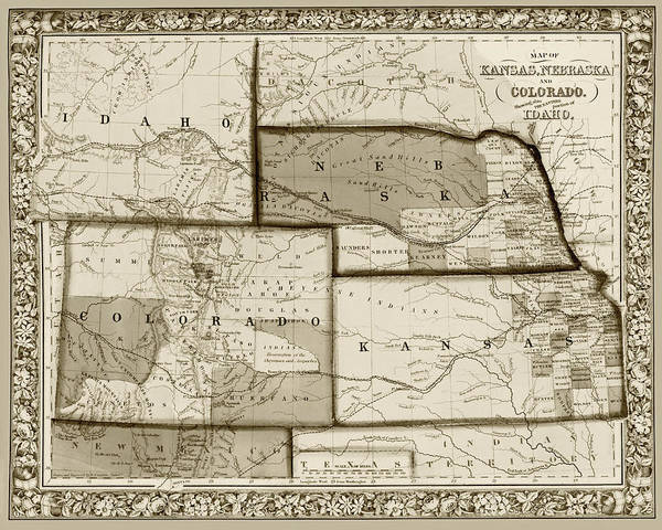 Digital Art - 1861 Map Of Idaho Nebraska Colorado And Kansas Sepia by Toby McGuire