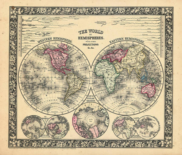 1864 Wall Art - Digital Art - 1864, The World In Hemispheres With by Historic Map Works Llc